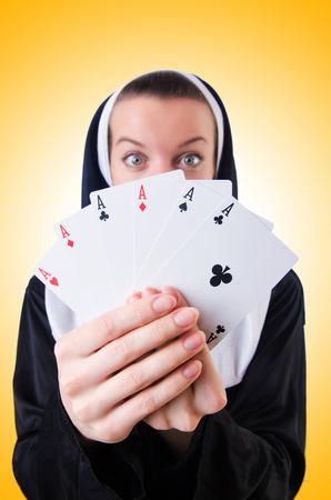pious: Nun in the gambling concept