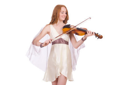 solo violinist: Ancient goddess with violin isolated on white