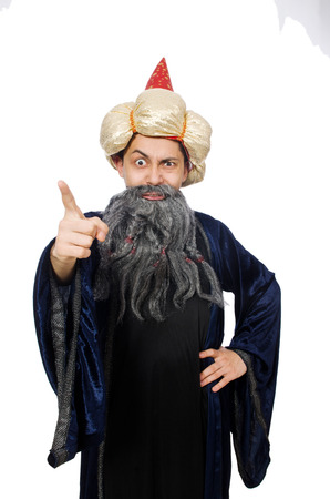 Funny wise wizard isolated on the white photo