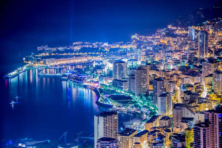 Night view of Monaco from mountain photo