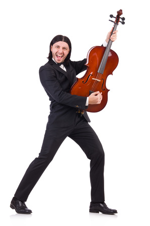 fiddlestick: Funny man with music instrument on white