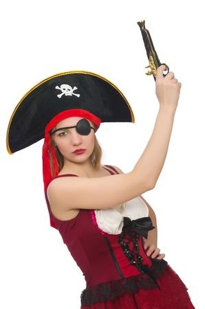 mujer pirata: Pirata de la mujer aislada en blanco
