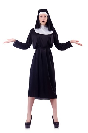 astounded: Nun isolated on the white background