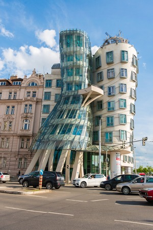 Prague - MAY 9, 2014: Dancing House on May 9 in Prague, Chech Republic. Dancing house is one of the most popular tourist attractions in Prague Editorial