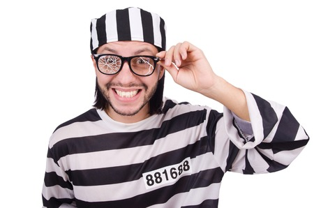 an inmate: Prison inmate isolated on the white background