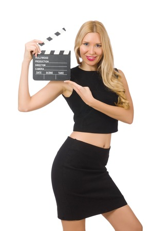 clapboard: Woman holding movie clapboard isolated on white