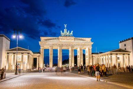Berlin - AUGUST 4, 2013: Brandenburg Gate on August 4 in Germany, Berlin. Brandenburg Gate is a popular tourist attraction in Berlin