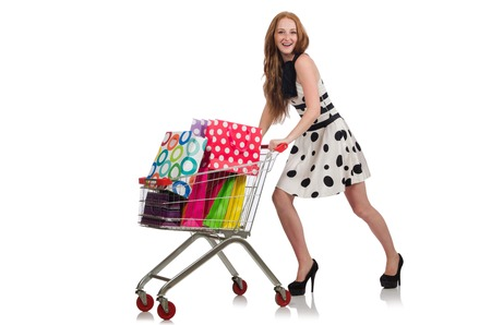 reach customers: Woman after shopping in the supermarket isolated on white