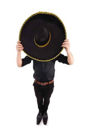 mexican culture: Funny man wearing mexican sombrero hat isolated on white