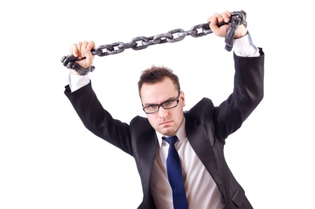 fetter: Businessman with chain isolated on the white Stock Photo