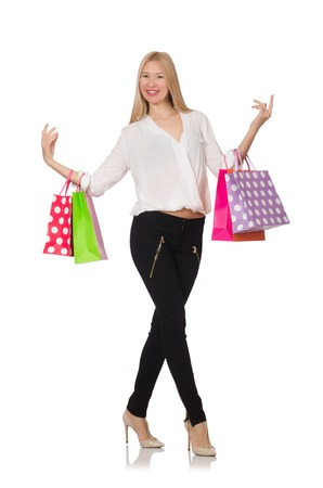 after shopping: Woman many shopping bags after shopping isolated on white