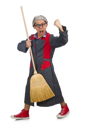 janitor: Funny janitor isolated on white