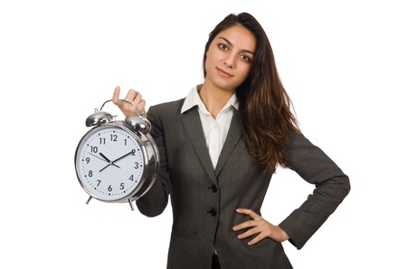 Businesswoman with clock missing her deadlines photo