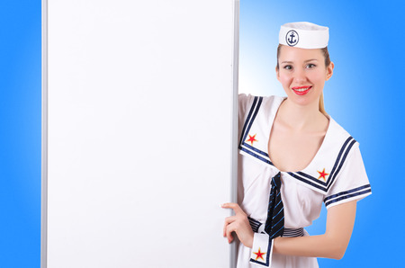 stewardess: Stewardess with blank board on white