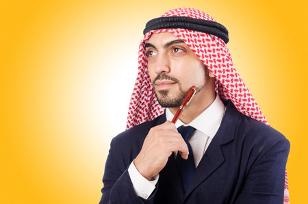 thoub: Arab businessman isolated on the white Stock Photo