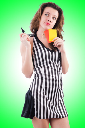 arbiter: Woman referee with card on white Stock Photo