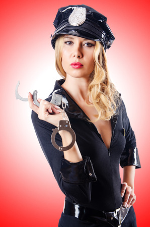 Woman police in the concept Stock Photo