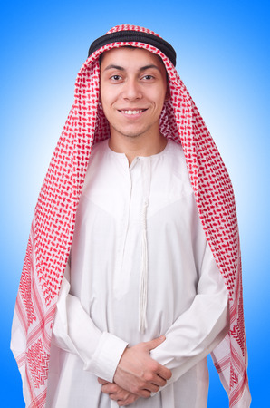 kameez: Young arab man isolated on white Stock Photo