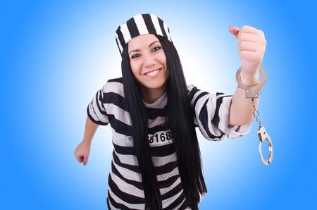 Prisoner in striped uniform on white Stock Photo