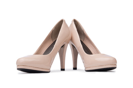 opentoe: Woman shoes isolated on the white background Stock Photo
