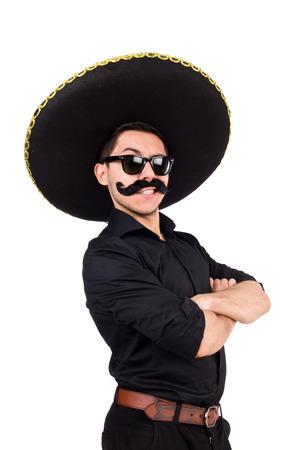traje mexicano: Hombre divertido que lleva el sombrero sombrero mexicano aislado en blanco Foto de archivo