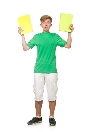 textbooks: Student with textbooks isolated on the white Stock Photo