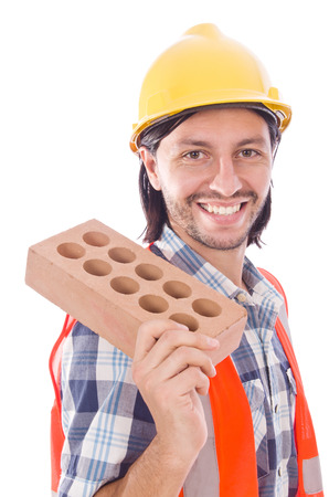 bricklayer: Young bricklayer with brick isolated on white