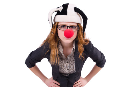 Funny woman clown isolated on the white photo