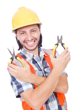 wirecutters: Handyman holds nippers isolated on white Stock Photo