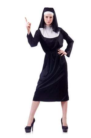 criticising: Nun isolated on the white background