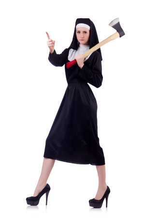 contradiction: Nun with axe isolated on white Stock Photo