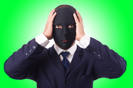 Man with mask isolated on white Stock Photo