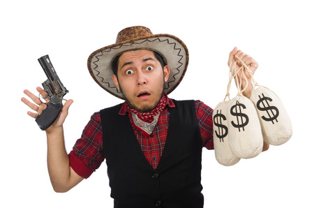 Young cowboy with gun and money bags isolated on white photo