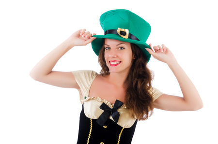 aquamarin: Female model in Irish costume isolated on white Stock Photo