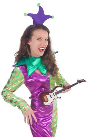 harlequin: Girl in harlequin costume isolated on white