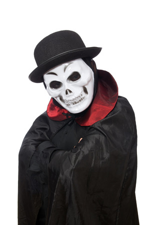 gothica: Man in horror costume with mask isolated on white