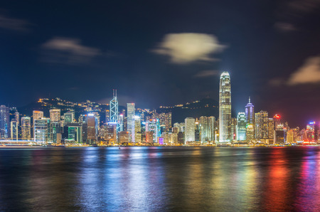hong kong harbour: Hong Kong - JULY 27, 2014: Hong Kong skyline on July 27 in China, Hong Kong. Hong Kong skyline is one of the famous in the world