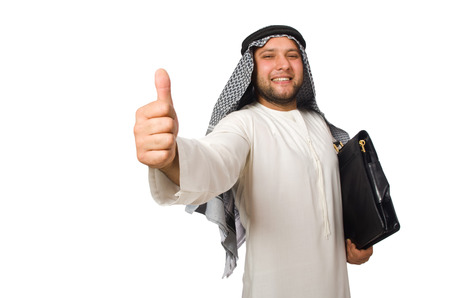 thoub: Concept with arab man isolated on white