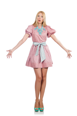 barbie: Woman in pink doll dress isolated on white