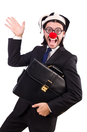 business suit: Funny clown businessman isolated on the white