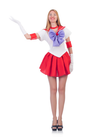 cosplay: A girl in sailor moon suit isolated on white