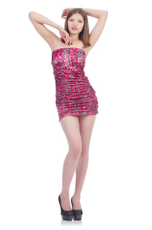 Woman in pink leopard dress isolated on white
