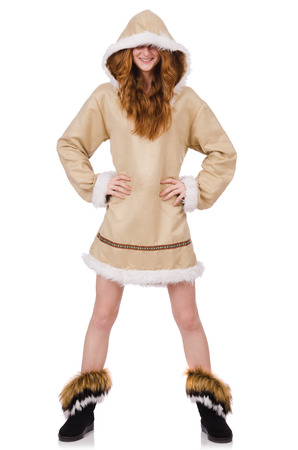eskimo woman: Eskimo girl wearing clothes of all fur isolated on white