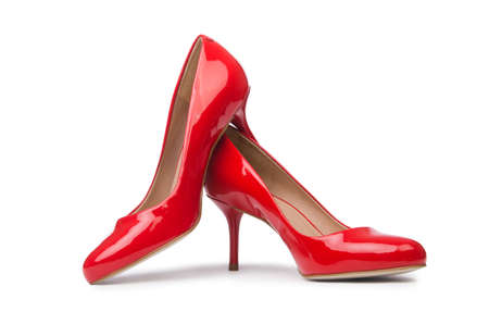 footgear: Red woman shoes isolated on the white background Stock Photo