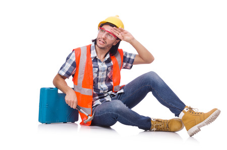 get tired: Construction worker with tool box isolated on white