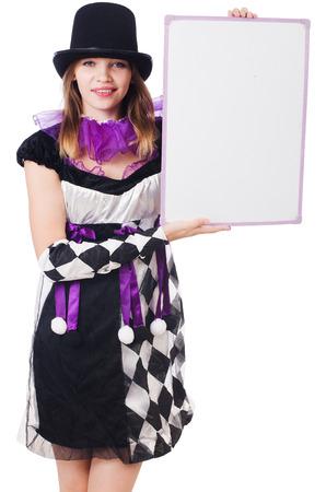 arlecchino: Ragazza in costume Arlecchino isolato su bianco