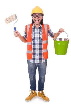 Funny painter with painting accessories isolated on white photo