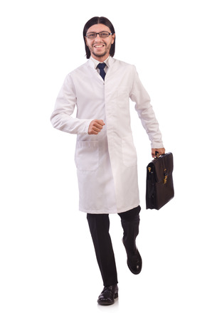 Young male doctor isolated on white photo