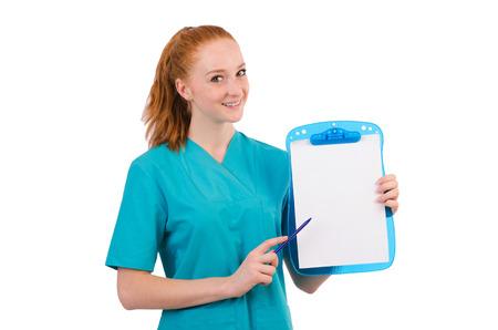 Careful nurse isolated on white photo