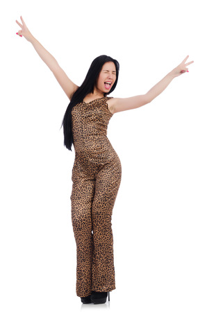 merry dancers: Young model in leopard prints suit isolated on white